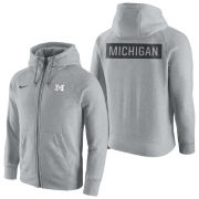 Nike University of Michigan Heather Gray Gridiron Full Zip Hooded Sweatshirt