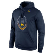 Jordan University of Michigan Football Navy Icon Performance Hooded Sweatshirt