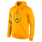 Jordan University of Michigan Football Yellow Icon Performance Hooded Sweatshirt