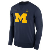 Jordan University of Michigan Football Navy DNA Therma-FIT Crewneck Sweatshirt