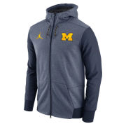 Jordan University of Michigan Football Heather Navy Travel Full Zip Hooded Sweatshirt