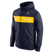 Jordan University of Michigan Football Navy Sideline Therma-FIT Full Zip Hooded Sweatshirt