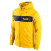Jordan University of Michigan Football Maize Sideline Therma-FIT Full Zip Hooded Sweatshirt