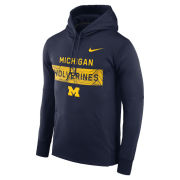 Nike University of Michigan Football Navy Staff Sideline Therma-FIT Hooded Sweatshirt
