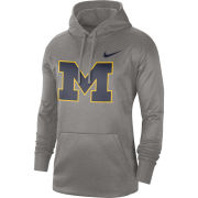 Nike University of Michigan Gray Block ''M'' Circuit Therma-FIT Performance Hooded Sweatshirt