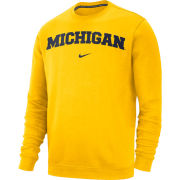 Nike University of Michigan Maize Stadium Club Basic Crewneck Sweatshirt