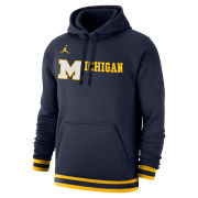 Jordan University of Michigan Basketball Navy Retro Stadium Club Hooded Sweatshirt