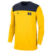 Jordan University of Michigan Football Maize/ Navy Long Sleeve Player Dri-FIT Top
