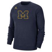 Jordan University of Michigan Football Navy Team Fleece Crewneck Sweatshirt