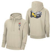 Nike University of Michigan Khaki Tailgate Max90 Stadium Club Hooded Sweatshirt