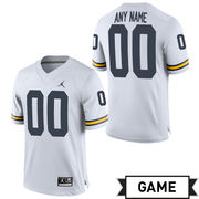 Jordan University of Michigan Football White Custom Game Jersey