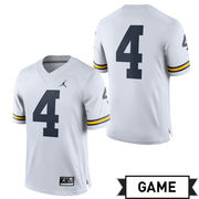 Jordan University of Michigan Football White #4 Game Jersey