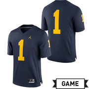 Jordan University of Michigan Football Navy #1 Game Jersey