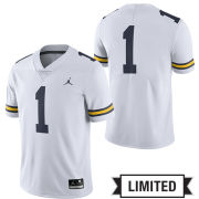 Jordan University of Michigan Football White #1 Limited Jersey