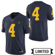 Jordan University of Michigan Football Navy #4 Limited Jersey