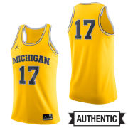 Jordan University of Michigan Basketball Yellow Authentic #17 Jersey