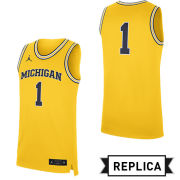 Jordan University of Michigan Basketball Yellow Replica #1 Jersey