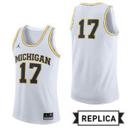 Jordan University of Michigan Basketball White Replica #17 Jersey