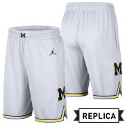 Jordan University of Michigan Basketball White Replica Shorts