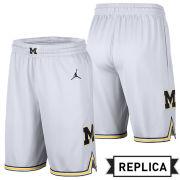Jordan University of Michigan Basketball White Replica Shorts