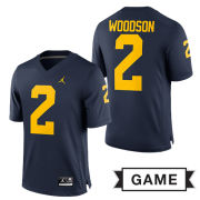 Jordan University of Michigan Football Navy Charles Woodson #2 Game Jersey