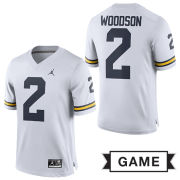 Jordan University of Michigan Football White Charles Woodson #2 Game Jersey