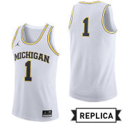 Jordan University of Michigan Basketball White Replica #1 Jersey