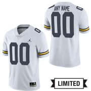 Jordan University of Michigan Football White Custom Limited Jersey