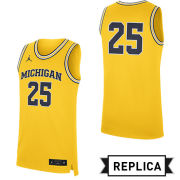 Jordan University of Michigan Basketball Maize Replica #25 Jersey