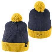 Nike University of Michigan Navy and Maize Cuffed Pom Knit Hat with Removable Pom