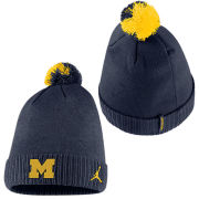 Jordan University of Michigan Football Navy Sideline Cuffed Pom Knit Hat