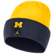 Jordan University of Michigan Football Navy/Yellow Sideline Dri-FIT Cuffed Knit Beanie Hat