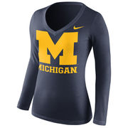 Nike University of Michigan Ladies Navy Long Sleeve Mid-V Neck Logo Tee