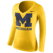 Nike University of Michigan Ladies Yellow Long Sleeve Mid-V Neck Logo Tee