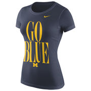 Nike University of Michigan Ladies Navy Go Blue Scoopneck Tee