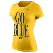 Nike University of Michigan Ladies Yellow Go Blue Scoopneck Tee