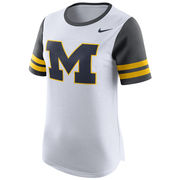 Nike University of Michigan Ladies White Modern Fan Tee
