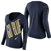 Nike University of Michigan Women's Heather Navy Long Sleeve Mid-V Tee