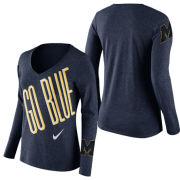 Nike University of Michigan Women's Heather Navy Long Sleeve Mid-V Tee