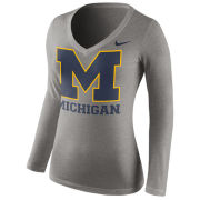 Nike University of Michigan Women's Gray Long Sleeve Mid-V Neck Logo Tee