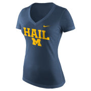 Nike University of Michigan Women's Heather Navy Mid-V Neck ''HAIL'' Triblend Tee