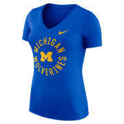 Nike University of Michigan Women's Heather Blue Dri-FIT Touch V-Neck Tee
