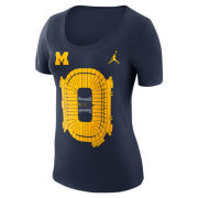 Jordan University of Michigan Football Women's Navy Michigan Stadium Tee