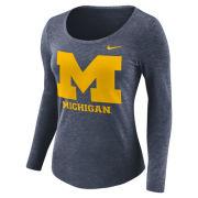 Nike University of Michigan Women's Heather Navy Long Sleeve Scoopneck Logo Tee