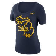 Nike University of Michigan Women's Navy ''Local Elements'' State of Michigan Tee