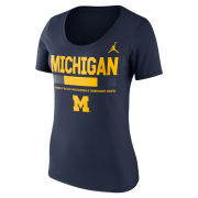 Jordan University of Michigan Football Women's Navy Sideline DNA Scoopneck Tee