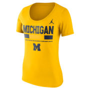 Jordan University of Michigan Football Women's Yellow Sideline DNA Scoopneck Tee