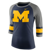 Nike University of Michigan Women's Navy Raglan Striped 3/4 Sleeve Tee