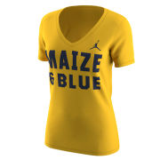 Jordan University of Michigan Football Women's Maize ''Maize & Blue'' V-Neck Tee