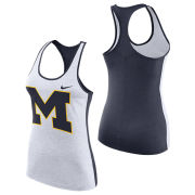 Nike University of Michigan Women's Light Heather Gray/ Navy Dri-FIT Touch Tank Top